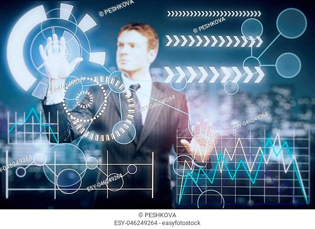 Blurry handsome young businessman managing abstract business screen. Fund management concept. 3D Rendering