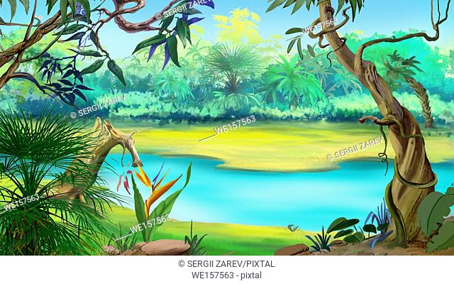 Small River in the Rainforest in a sunny day. Digital Painting Background, Illustration in cartoon style character