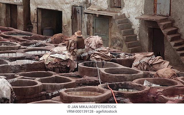 Fes, Morocco - 18 July 2014: Chouara traditional leather tannery in Fes, Morocco