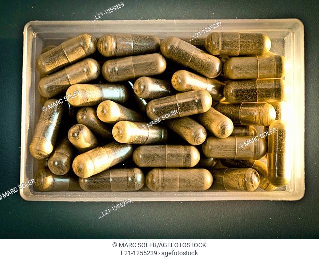 Herbal pills in a plastic box