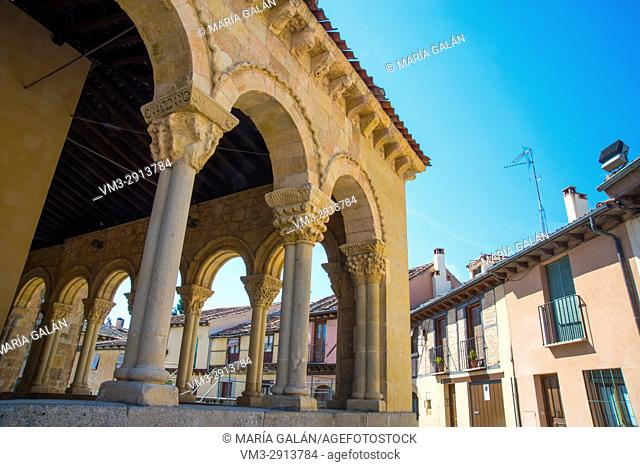 Portico of San Lorenzo church. San Lorenzo Square, Segovia, Spain