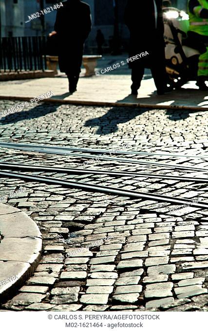 Cobbled street, Chiado district, Lisbon, Portugal, Europe