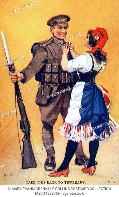 WW1 - Marianne pins a rosette onto a British Tommy - Take this back to Tipperary