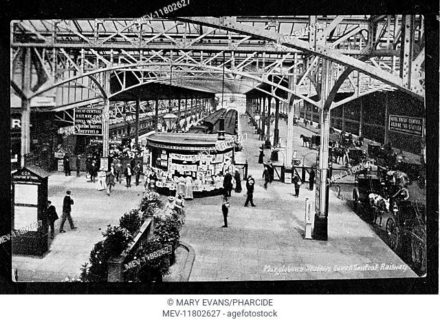 Aerial platform scene at Marylebone Station, Great Central Railway, London, with trains, passengers, and a W H Smith kiosk