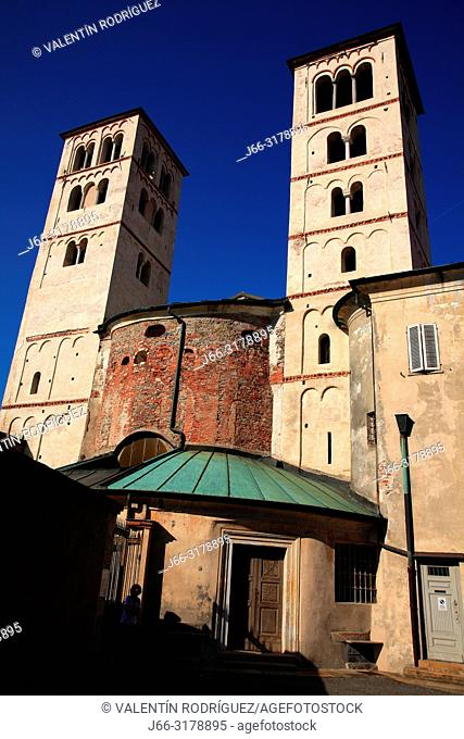 Duomo towers. Cathedral of Santa Maria Assunta. Ivrea. Italy