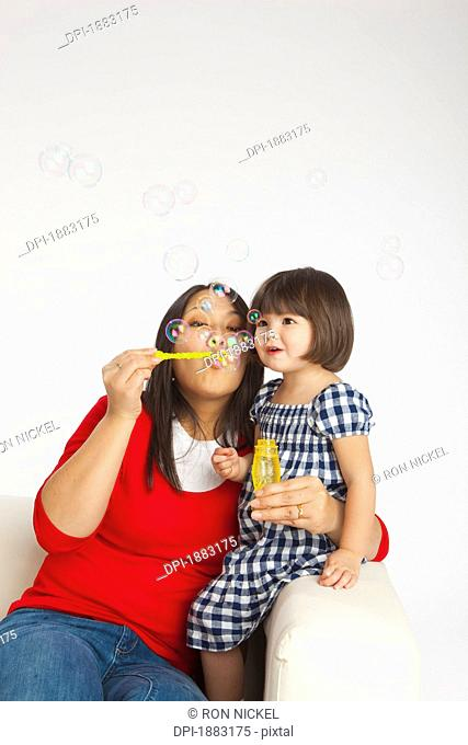 A Mother Blowing Bubbles With Her Young Daughter