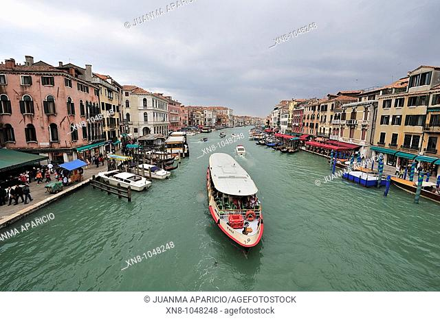 Views of the Grand Canal from the Rialto Bridge, Venice, Italy