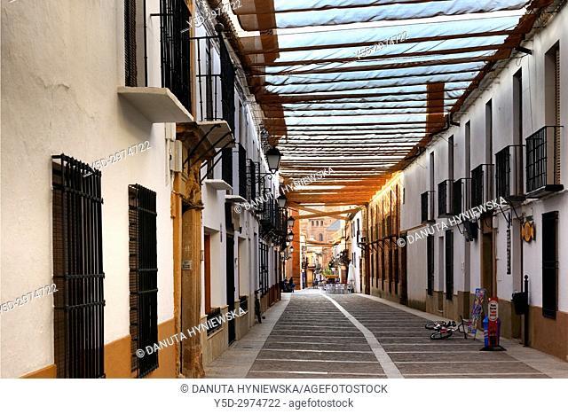street under sunscreens, Villanueva de los Infantes, Ruta de Don Quijote, Ciudad Real, Castile-La Mancha, Spain, Europe