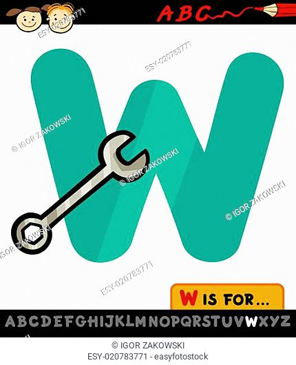 letter w with wrench cartoon illustration