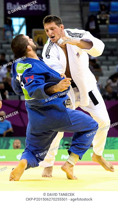 Lukas Krpalek (in white) from Czech Republic and Toma Nikiforov from Belgium fight during the Men's Judo under 100kg in Heydar Aliyev Arena at the Baku 2015 1st...