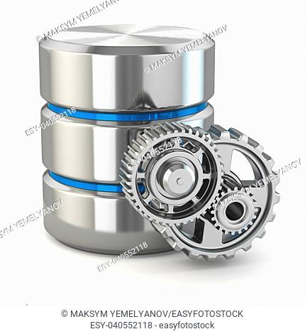Storage administration concept. Database symbol and gears. 3d