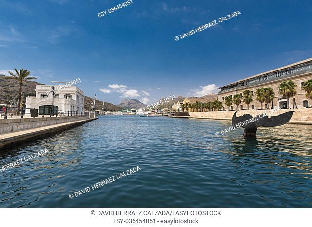 Port of Cartagena city, naval museum is in the background. Murcia province, Spain