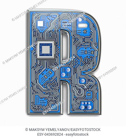 Letter R. Alphabet in circuit board style. Digital hi-tech letter isolated on white. 3d illustration