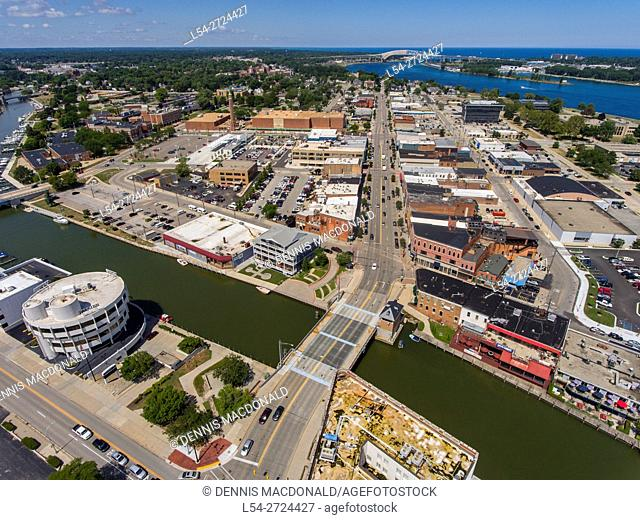Aerial view looking north of downtown Port Huron Michigan with Canada in the background