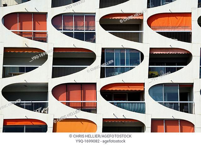 Window Patterns of Holiday Flats at La Grande-Motte Holiday Resort Hérault France