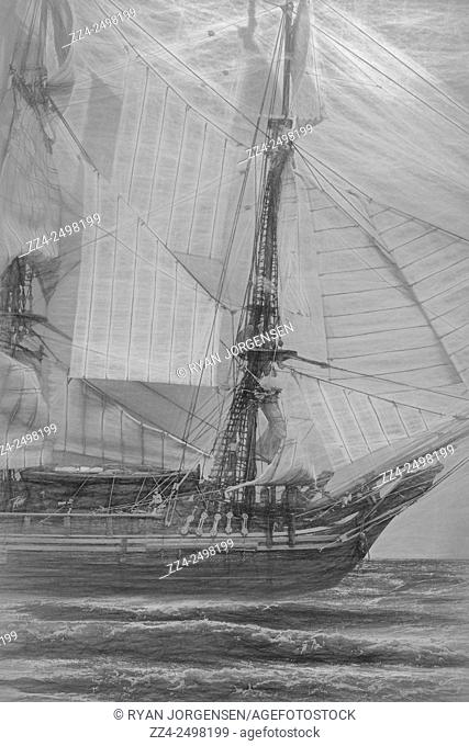 Creative black and white fine art combining sketching and photographs of an old 17th century ship battling the rolling waves of a rough ocean