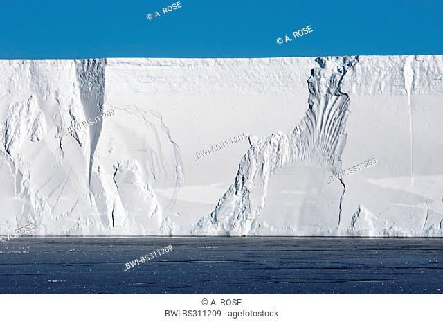 edge of a table iceberg near the iceberg resting place Austasen, Antarctica