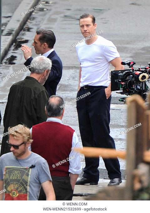 Tom Hardy on the set of Legend movie in London Featuring: Tom Hardy,Tom Hardy's stunt double Where: London, United Kingdom When: 09 Jul 2014 Credit: WENN