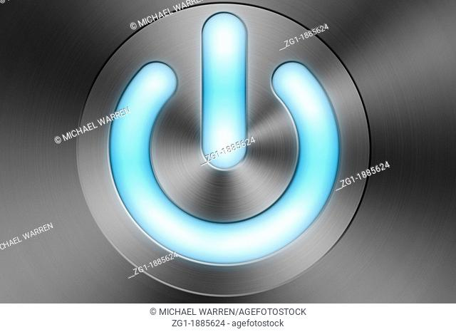 A blue glowing computer Power / Standby Button on a brush aluminium Apple Mac style background