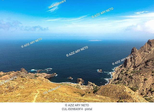 Elevated view of rugged coastline and sea, Nova Sintra, Brava, Cape Verde, Africa