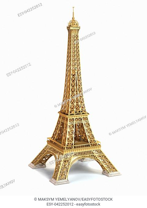 Eiffel Tower golden isolated on a white background. 3d illustration