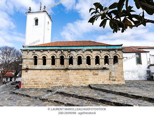 The Ancient Domus Municipalis of Braganca and Church of Santa Maria do Castelo in the background. Braganca, Braganca District, Norte Region, Portugal, Europe