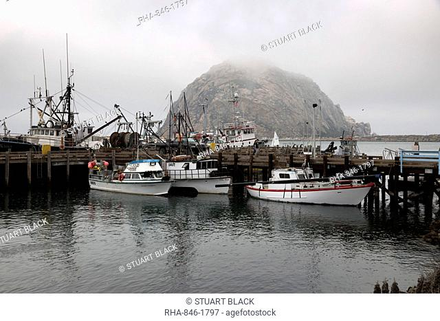 Morro Rock in fog, Morro Bay, San Luis Obispo County, California, United States of America, North America