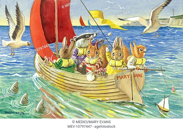 'The Sail Round the Bay' - badger, rabbits, squirrels and mice, wearing 'Mae West' life jackets, in a sailing dinghy, with seagulls and fish