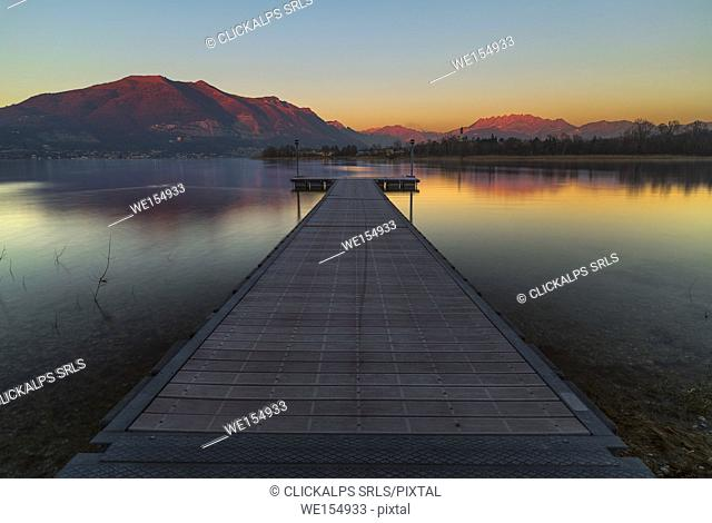 Sunset on lake Pusiano, Como and Lecco province, Brianza, Lombardy, Italy, Europe