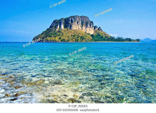 beach and stone in island thailand