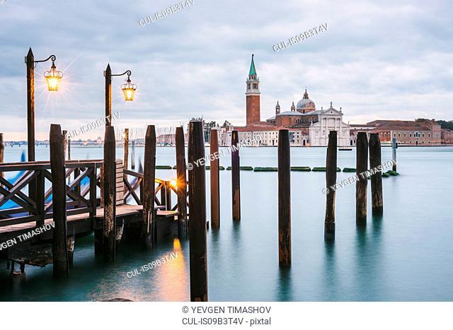 Pier in Grand Canal, San Giorgio Maggiore Island in background, Venice, Italy