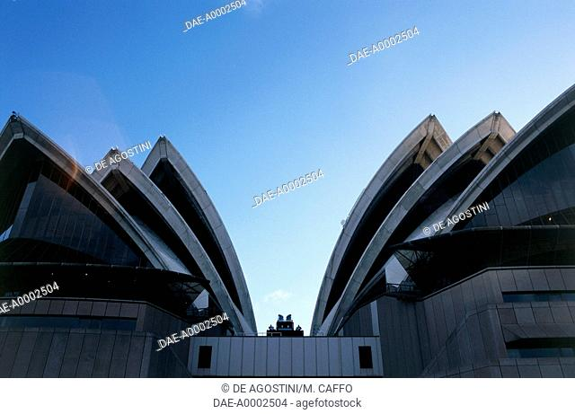 View of the Opera House (UNESCO World Heritage List, 2007), 1973, architect Jorn Utzon, and Harbour Bridge, 1923-1932, Sydney, New South Wales