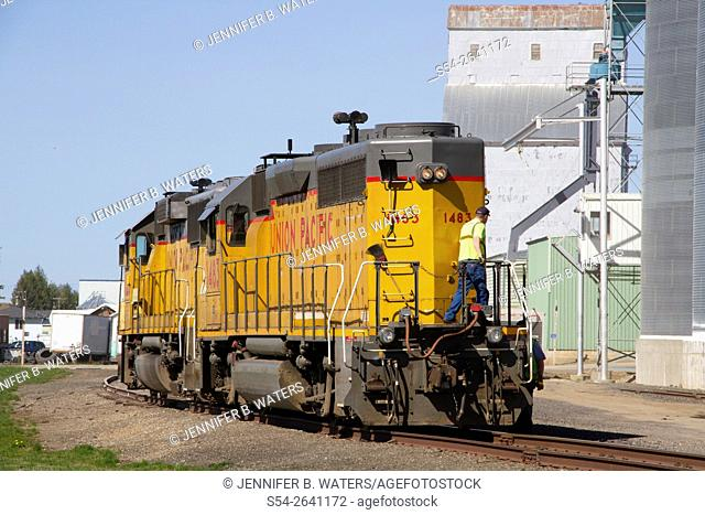 Two Union Pacific locomotives leaving Fairfield, Washington, after dropping off grain cars