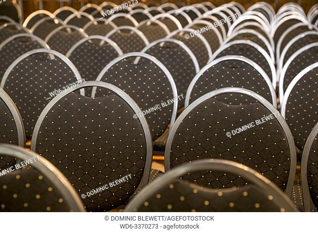 Rows of chairs at an event at Haus Ungarn in Berlin, Germany
