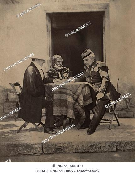 FitzRoy James Henry Somerset, 1st Baron Raglan, Omar Pacha and Aimable-Jean-Jacques Pélissier, Council of War at Lord Raglan's Headquarters after Successful...