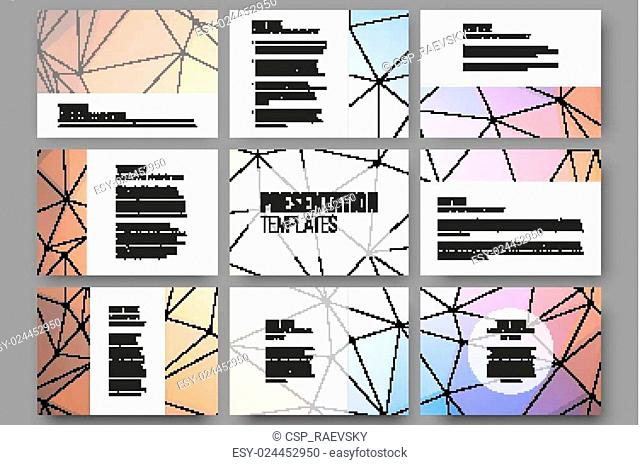Set of 9 vector templates for presentation slides. Abstract triangle design background