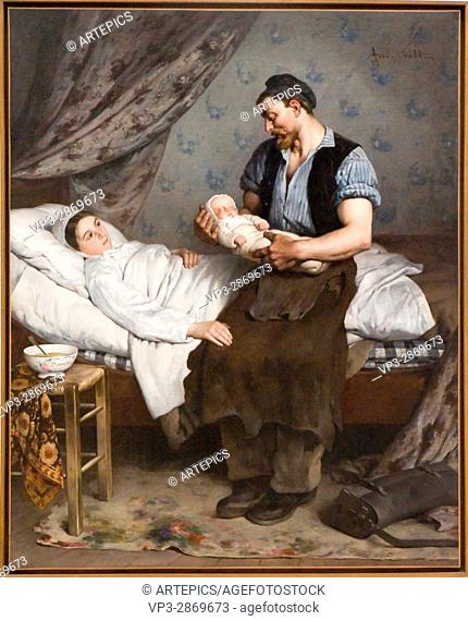 Louis-Alexandre Gosset de Guines. aka André Gill. Le nouveau-né. The new born. 1888. Oil on canvas. Petit Palais Museum. Paris - France