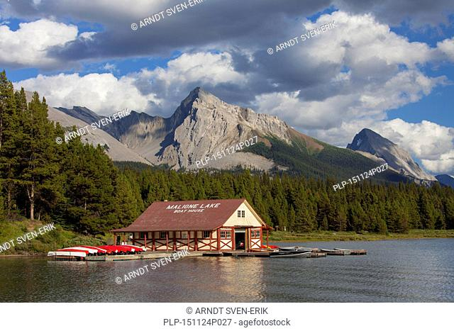 Boathouse with canoes at Maligne Lake, Jasper National Park, Alberta, Canadian Rockies, Canada