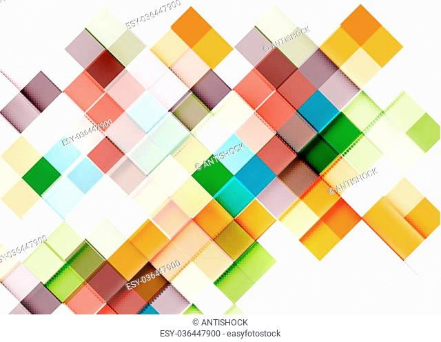 Square shape mosaic pattern design. Universal modern composition. Clean colorful mosaic tile background with copyspace. Abstract background