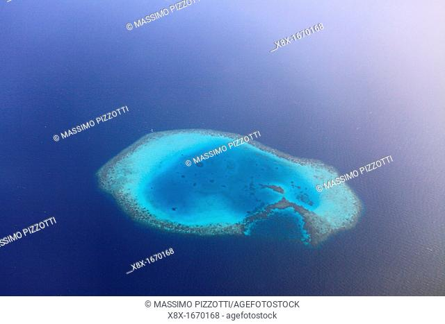 Aerial view of a maldivian island, Maldives