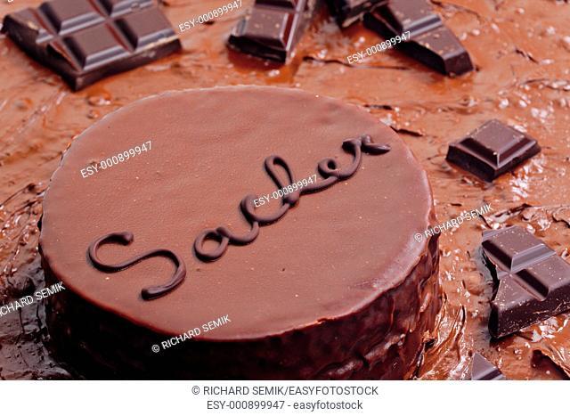 still life of Sacher cake