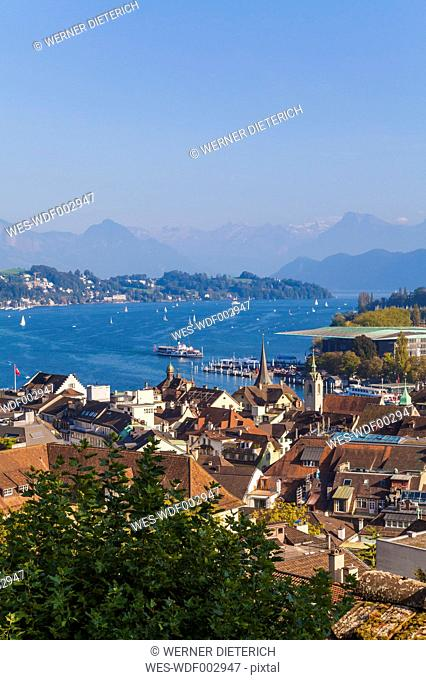 Switzerland, Canton of Lucerne, Lucerne, Old town, View to Lake Lucerne with paddlesteamer and boats, Lucerne Culture and Congress Centre