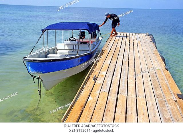boat at the pier, Barú Peninsula, Caribbean Sea, Colombia