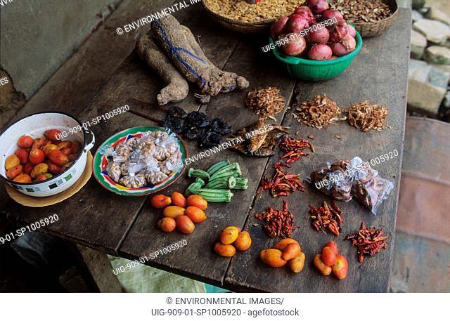VILLAGE SHOP, NIGERIA. Vegetables grown on deforested land by slash and burn agriculturalists.