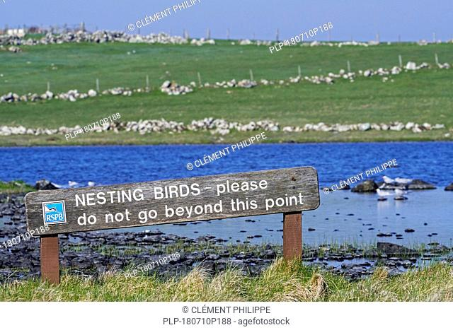 RSPB sign warning for nesting birds at breeding colony of Arctic terns along the shoreline of Loch of Funzie on the island Fetlar, Shetland, Scotland