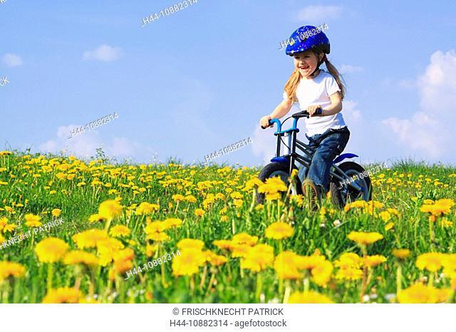 3, 3-year-old, activity, flowers, flower field, flower meadow, blossom, flourish, smell, bicycle, bike, bicycle, bike, go, field, freedom, joy, spring, danger