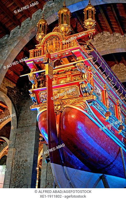 Don Juan from Austria's royal galley, Royal Shipyards, Maritime Museum, Barcelona, Catalonia, Spain