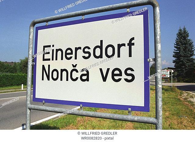 bilingual road sign - Einersdorf