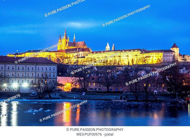 Czechia, Prague, Prague Castle, blue hour