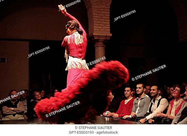 FLAMENCO PERFORMANCE, MUSEO DEL BAILE FLAMENCO, FLAMENCO MUSEUM, SEVILLE, ANDALUSIA, SPAIN